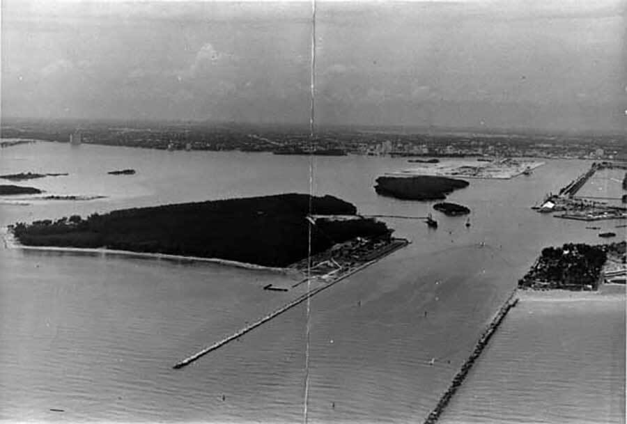 Aerial view of Government Cut, Dodge Island and Fisher's Island , c. 1964 (HistoryMiami)