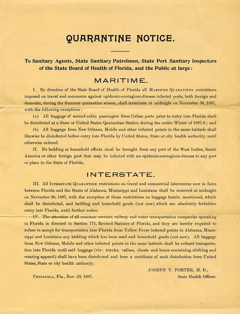 Quarantine regulations mandated by Florida Board of Health to prevent the spread of yellow fever, c. 1897 (State Archives of Florida)