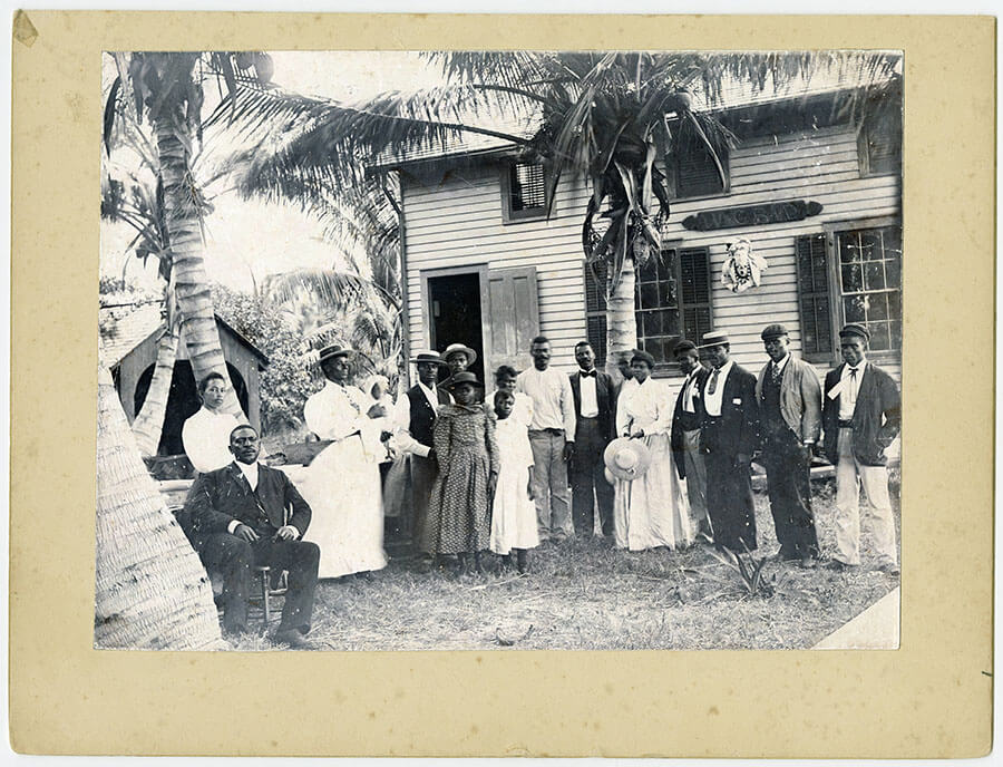 Early pioneers pose in front of Commodore Ralph Munroe's boathouse, c. 1890s (University of Miami Library, Special Collections)