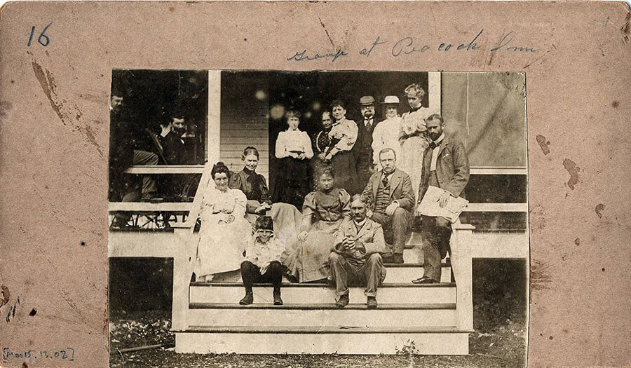 A group of visitors and early settlers on the veranda of the Peacock Inn, c. 1890s (University of Miami Library, Special Collections)