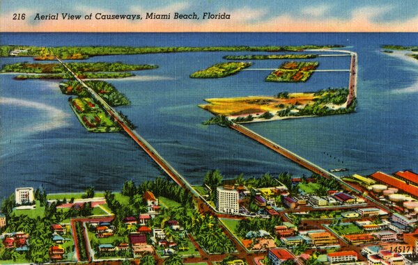 Postcard of Venetian (left) and MacArthur Causeways (right), looking east from Miami toward Miami Beach; c. 1925 (State Archives of Florida)